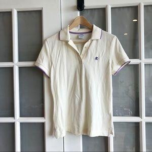 Brooks Brothers Slim Fit White & Purple Polo Shirt